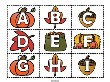 Fall Alphabet Flashcards Cards - Upper and Lower Case