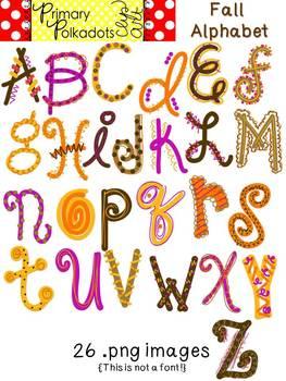 Fall Alphabet {Primary Polka Dots Clip Art}