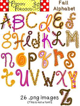 Fall Alphabet {Primary Polka Dots Clip Art}