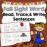 Fall Trace & Write Sight Word Sentences