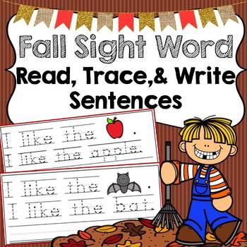 Fall Trace & Write Sight Word Sentences