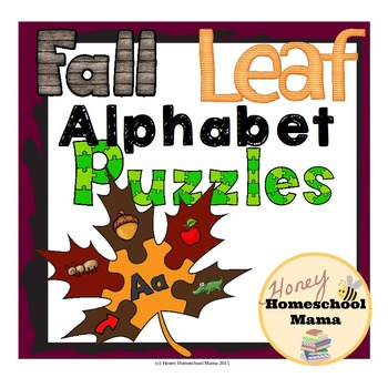 Fall Alphabet Puzzles - 6 Piece Leaf Puzzles with Letters and Phonics Images