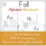 Fall Alphabet Worksheets A - Z