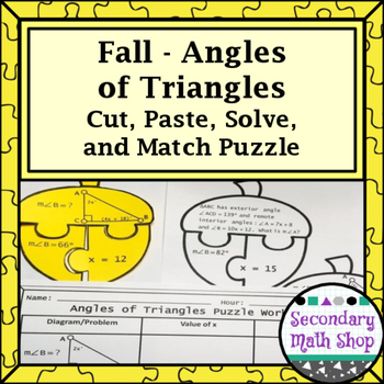 Fall - Angles of Triangles Cut, Paste, Solve, Match Puzzle Activity