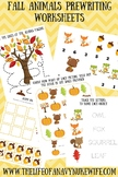 Fall Animals Prewriting worksheets