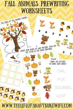 Fall Animals Prewriting worksheets