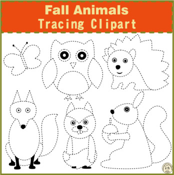 Fall Animals Tracing Clipart