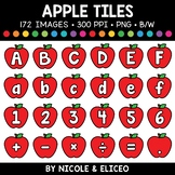 Fall Apple Letter and Number Tiles Clipart