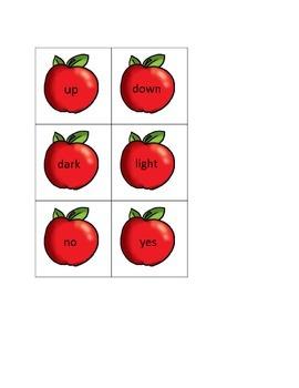 Fall Apple Opposites Literacy Center Game