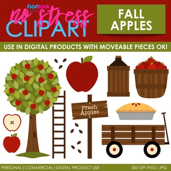 Fall Apple Picking Clip Art (Digital Use Ok!)