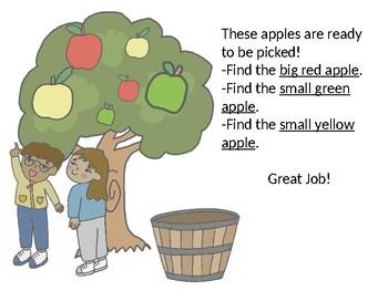 Fall Apple Picking Story-Describing Apples + NO PREP Printable