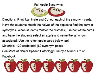 Speech Therapy: Fall Apple Synonyms