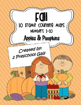Fall Apple and Pumpkin 10 Frame Counting Mats (1-10)
