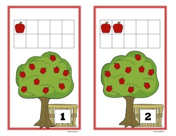 Fall Apple and Pumpkin 10 Frame Counting Mats Bundle Set (1-20)