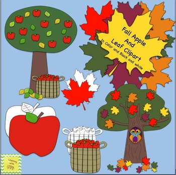 Fall Apples & Leaves Clipart