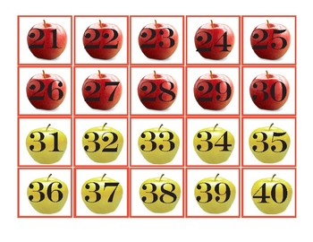 Fall  ~ Pocket Chart Numbers 1-100 - Apples