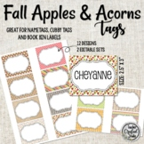 Fall Apples and Acorn Tags for Organizing Cubbies, Name Ta