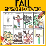 Fall Apraxia Homework