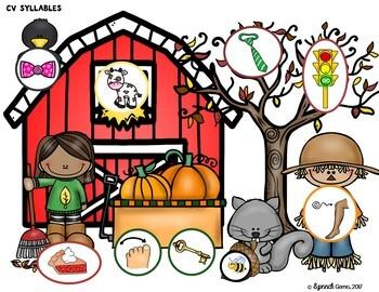 Fall Apraxia Syllables and Early Sound Dough Smash Mats
