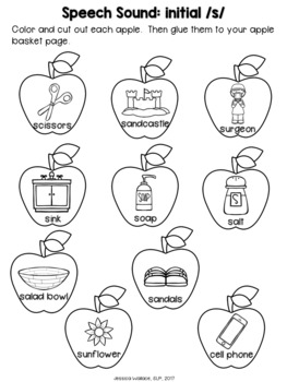 Fall Articulation Craft - Basket of Apples