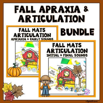 Fall Articulation, Apraxia Syllables and Early Sounds Dough Smash Mats BUNDLE
