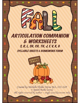 Fall Articulation Companion & Worksheets