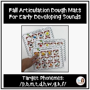 Fall Articulation Print-and-Go Dough Smash Mats for Early Developing Sounds