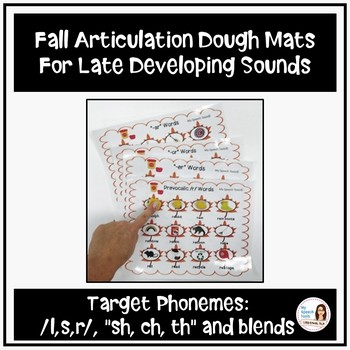Fall Articulation Print-and-Go Dough Smash Mats for Late Developing Sounds