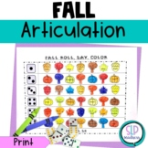Fall NO PREP Articulation Roll Say Color - Sound Practice Speech Therapy