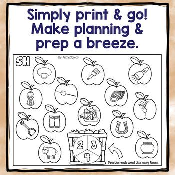 Fall Articulation Spinner Worksheets - Print & Go!