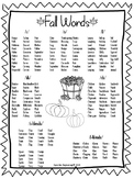 FREE Fall Articulation Word Lists