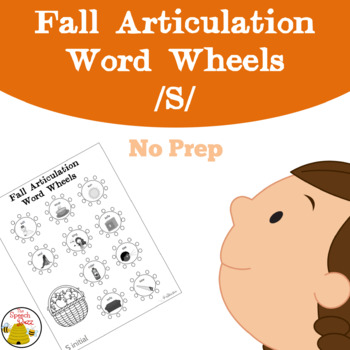 Fall Articulation Word Wheels: S Sound {No-Prep}