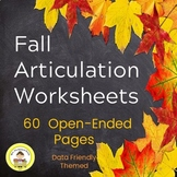 Fall Speech Therapy Articulation Worksheets -Data Friendly