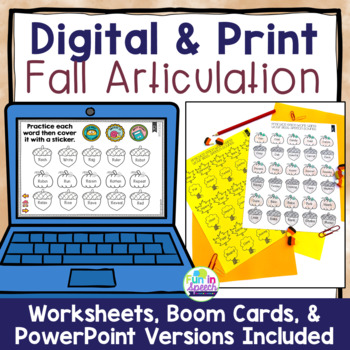 Fall Articulation Worksheets for Every Sound & Loaded with