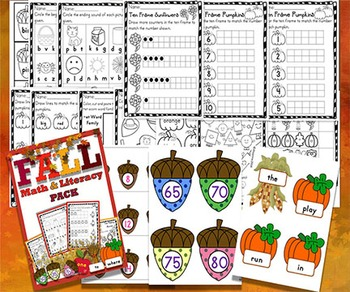 Fall Autumn Math and Literacy Pack