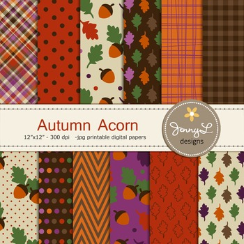 Fall Autumn Acorn digital paper