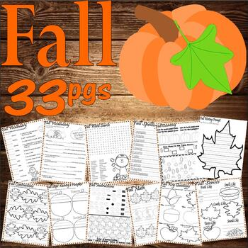 Fall Autumn Activity Worksheet Packet : Vocabulary Spelling Math + 33pg NO PREP