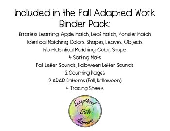 Fall / Autumn Adapted Work Binder [20+ Assorted Fall Activities]
