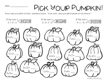 Fall / Autumn Addition and Subtraction: Basic Facts Practice