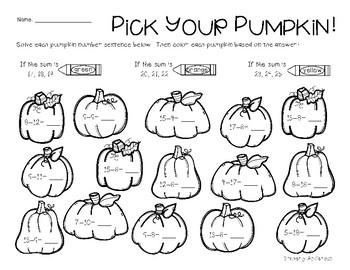 Fall / Autumn Addition and Subtraction Practice