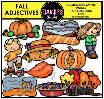 Fall/Autumn Adjectives Clip Art Bundle {Educlips Clipart}