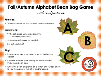 Fall/Autumn Alphabet Bean Bag Game