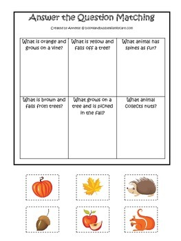 Fall Autumn Answer the Question preschool educational game.  Child care learning