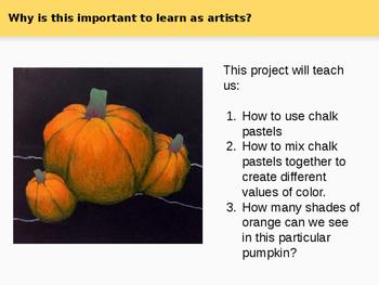 Fall/Autumn Chalk Pastel Pumpkins & Leaves, Powerpoint & Worksheet Bundle!