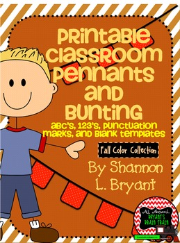 Fall / Autumn Classroom Pennants and Bunting (Letters, Numbers, Punctuation)