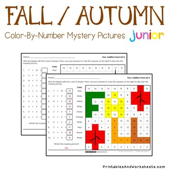 Fall Math Addition Worksheets Coloring Pages
