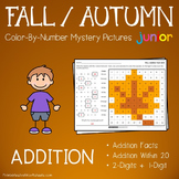 Addition Color By Number, Fall Addition Coloring Sheets Mystery Picture Activity