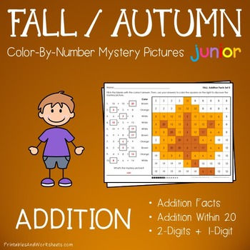 Fall Addition Color by Number:  (K-2)