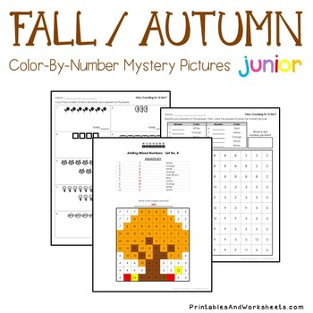 Greater Than Less Than Fall Counting Worksheet, Mystery Picture Coloring Sheets