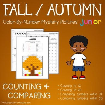 Kindergarten Fall Color by Number: Counting/Greater Than/L
